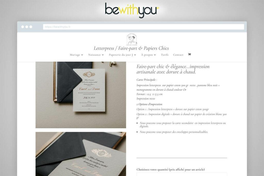 Site E-commerce de faire-part Bewithyou Agence Web Metz Arras