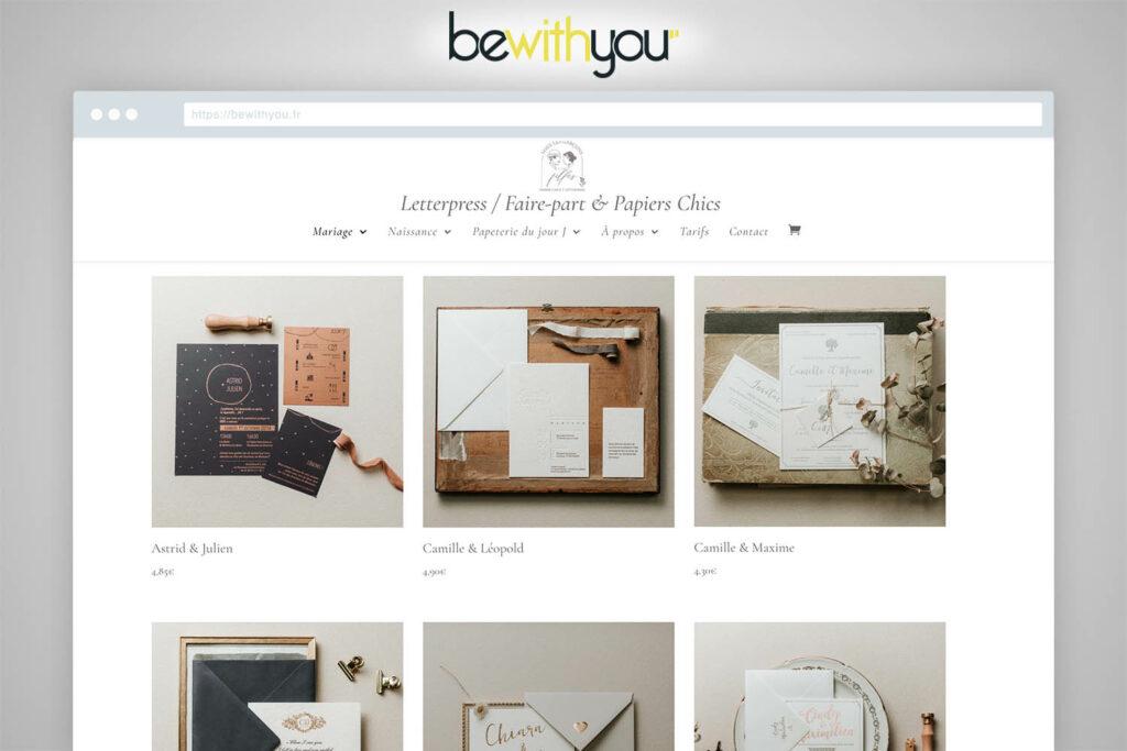 Site ecommerce faire-part mariage et naissance Agence de communication bewithyou Metz