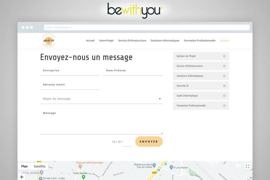 Formulaire de contact site ADoC-IT par BeWithYou